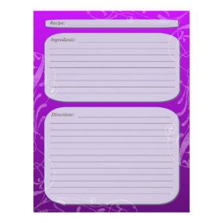 "Purple fade classy swirl recipe page 8.5"" x 11"" flyer"