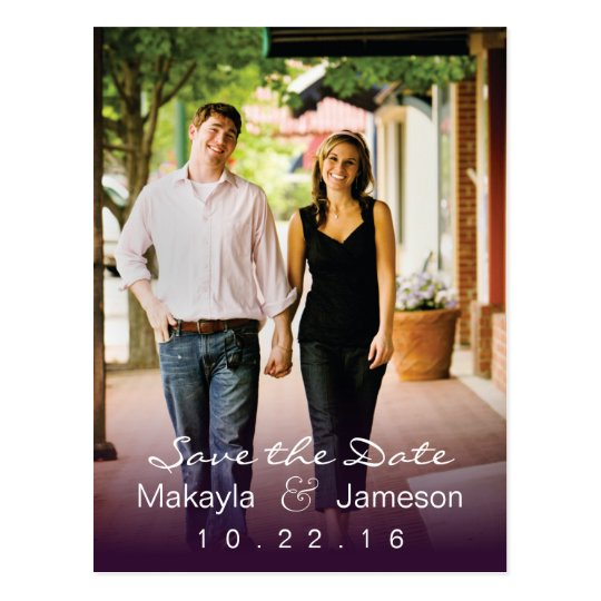 Purple Fade Photo Save the Date Postcard