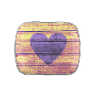 Purple Fade Planked Heart Candy Tin