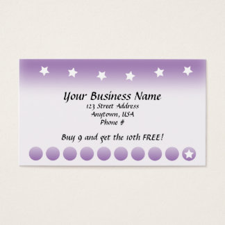 Purple Fade with Stars Customer Loyalty Cards