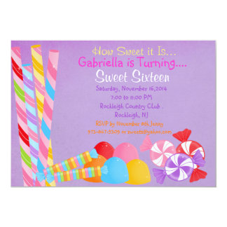 Purple Faded Lots of Candy Sweet 16 Invitation