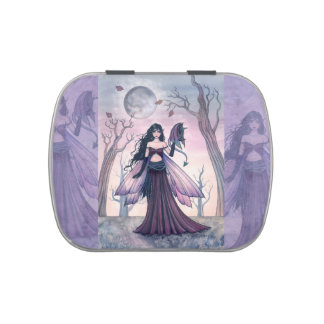 Purple Fairy and Dragon Fantasy Art Jelly Belly Candy Tins