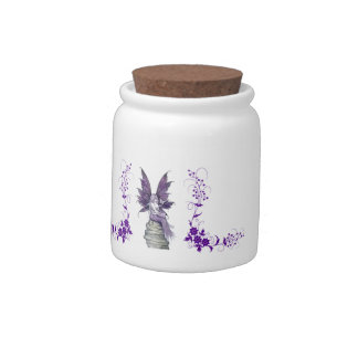 Purple Fairy and Flowers Jar Candy Dishes
