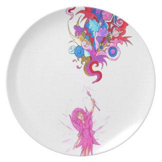 Purple Fairy and Plume Plate