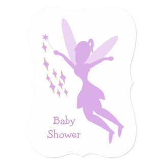 Purple Fairy Baby Shower 5x7 Paper Invitation Card