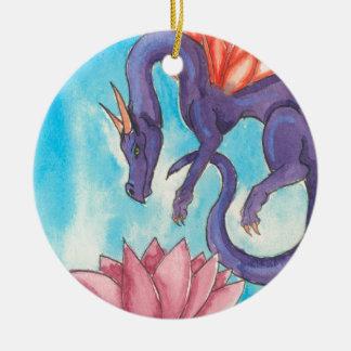 Purple Fairy Dragon Ceramic Ornament