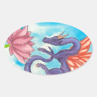 Purple Fairy Dragon Oval Sticker