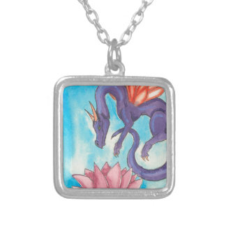 Purple Fairy Dragon Silver Plated Necklace