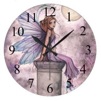 Purple Fairy Fantasy Art Clock