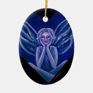 Purple Fairy Fantasy Heart Ceramic Ornament
