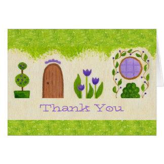 Purple Fairy House thank you card