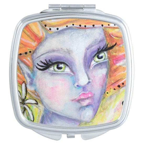 Purple Fairy Orange Hair Fantasy Art Elf Colorful Compact Mirror