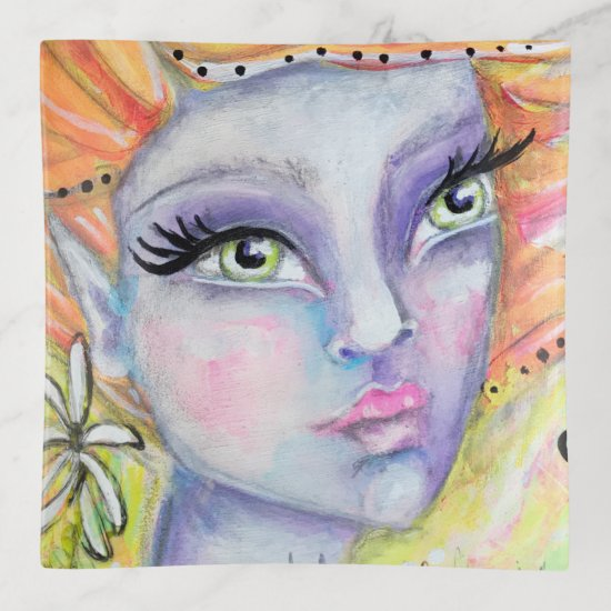 Purple Fairy Orange Hair Fantasy Art Elf Colorful Trinket Trays