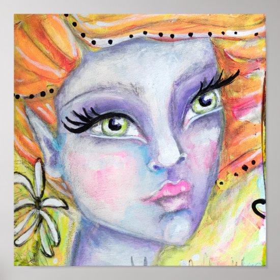 Purple Fairy Orange Hair Fantasy Art Elf Flower Poster