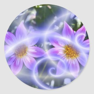 Purple Fairy Trails Dahlia On Canvas And Multiple Classic Round Sticker