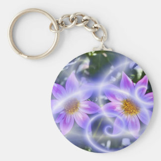 Purple Fairy Trails Dahlia On Canvas And Multiple Keychain