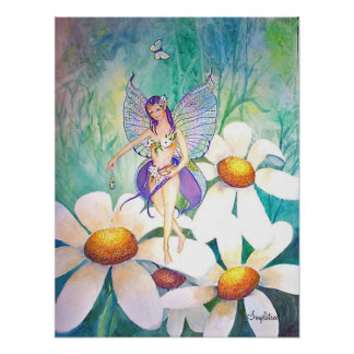 Purple Fairy Watering The Flowers Poster