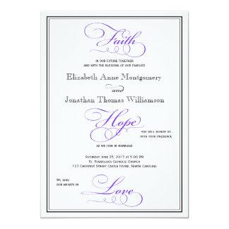 Purple Faith Hope Love Script Wedding Invitation