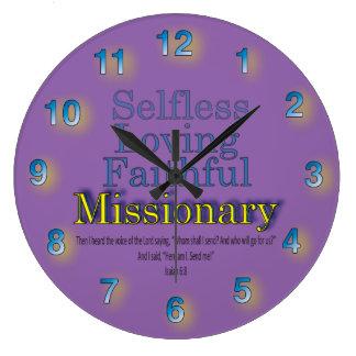 Purple Faithful Selfless Ministerial Missionary Large Clock