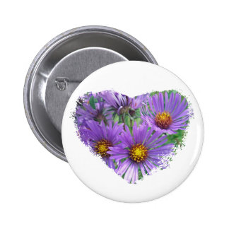 Purple Fall Asters Wildflower Matching Items Pinback Buttons