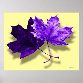 Purple Fall Leaf Poster