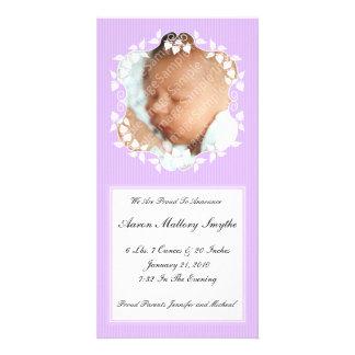 Purple Fancy New Baby Photo Card