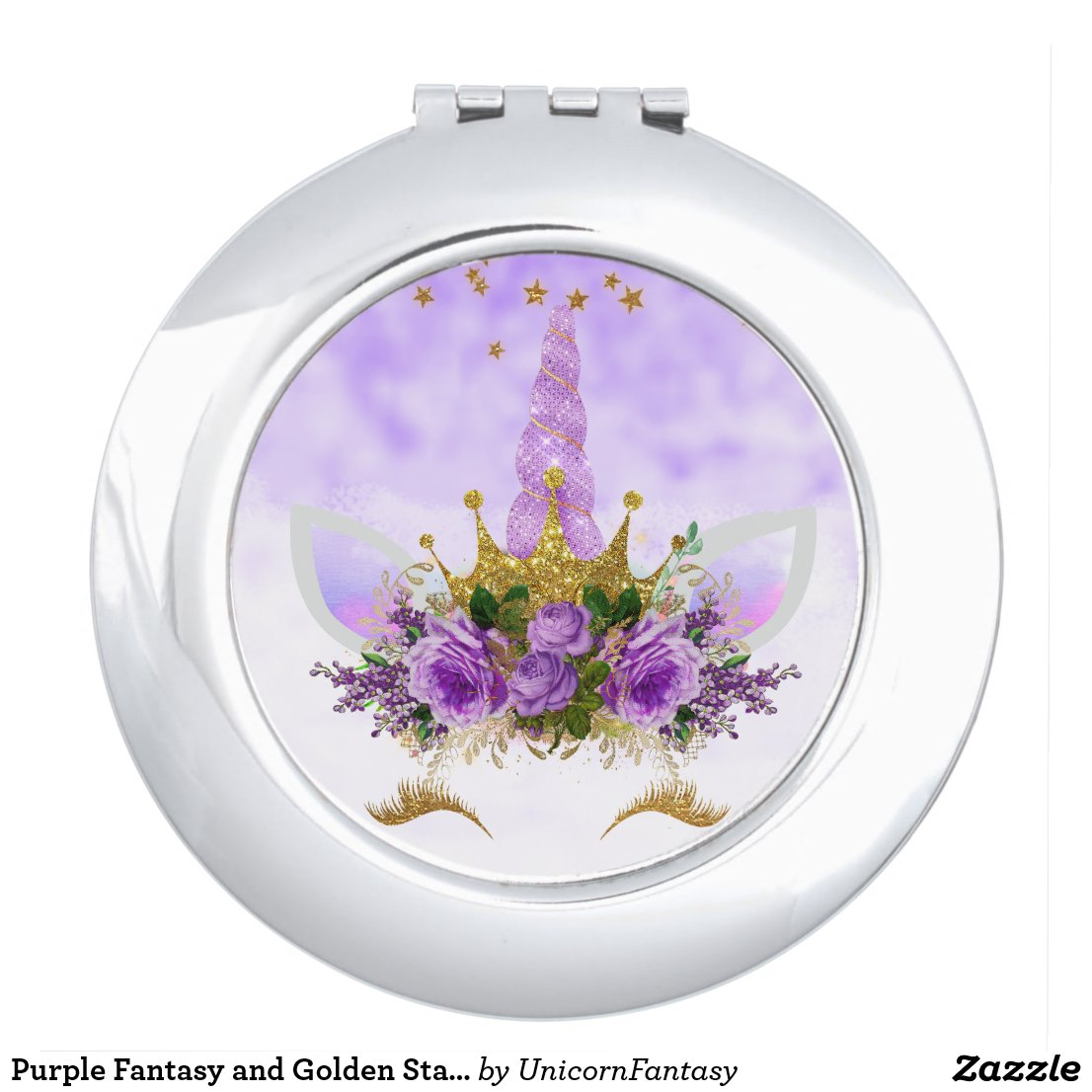 Purple Fantasy and Golden Stars Unicorn Compact Mirror