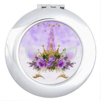 Purple Fantasy and Golden Stars Unicorn Compact Mirror