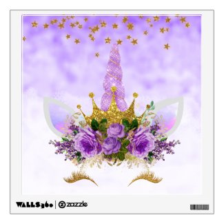 Purple Fantasy and Golden Stars Unicorn Wall Decal