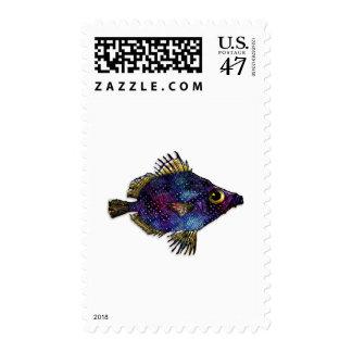 Purple Fantasy Discus Fish Postage Stamp