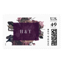Purple Fantasy Florals Wedding Postage Stamps