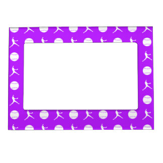 Purple Fastpitch Pattern Magnetic Picture Frame