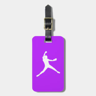 Purple Fastpitch Silhouette Luggage Tag