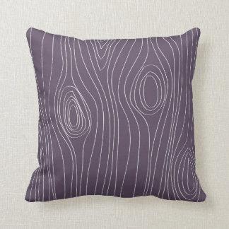Purple Faux Bois Wood Grain Throw Pillow