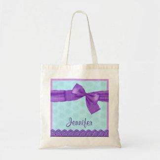 Purple Faux Bow and Lace Custom Name JENNIFER Tote Bag