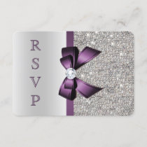 Purple Faux Bow Silver Sequins Diamond RSVP
