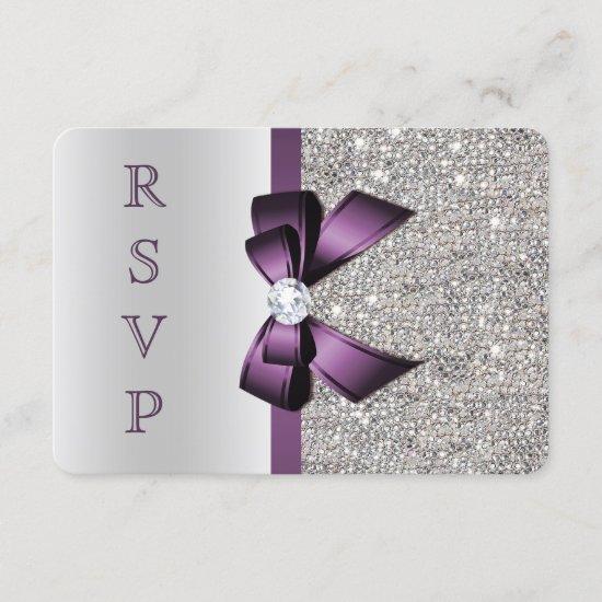 Purple Faux Bow Silver Sequins Diamond RSVP