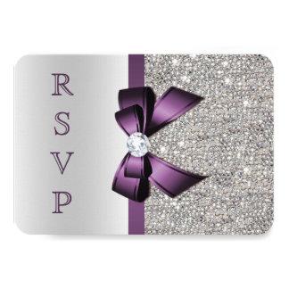 Purple Faux Bow Silver Sequins Diamond RSVP Invitation