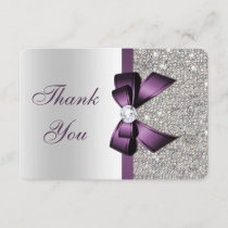 Purple Faux Bow Silver Sequins Diamond Thank You