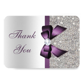 Purple Faux Bow Silver Sequins Diamond Thank You Card