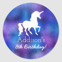 Purple Faux Foil Unicorn Silhouette Girls Birthday Classic Round Sticker