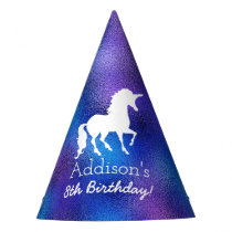 Purple Faux Foil Unicorn Silhouette Girls Birthday Party Hat