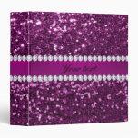 Purple Faux Glitter and Diamonds Binder
