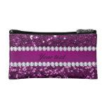 Purple Faux Glitter and Diamonds Cosmetic Bag