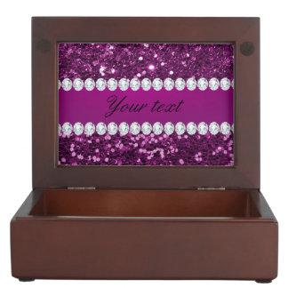 Purple Faux Glitter and Diamonds Keepsake Box