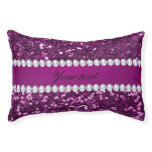 Purple Faux Glitter and Diamonds Pet Bed