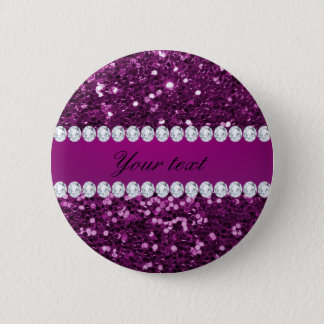 Purple Faux Glitter and Diamonds Pinback Button