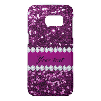 Purple Faux Glitter and Diamonds Samsung Galaxy S7 Case