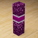 Purple Faux Glitter and Diamonds Wine Gift Box