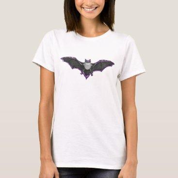 Halloween Themed Purple Faux Glitter Bat Shirt
